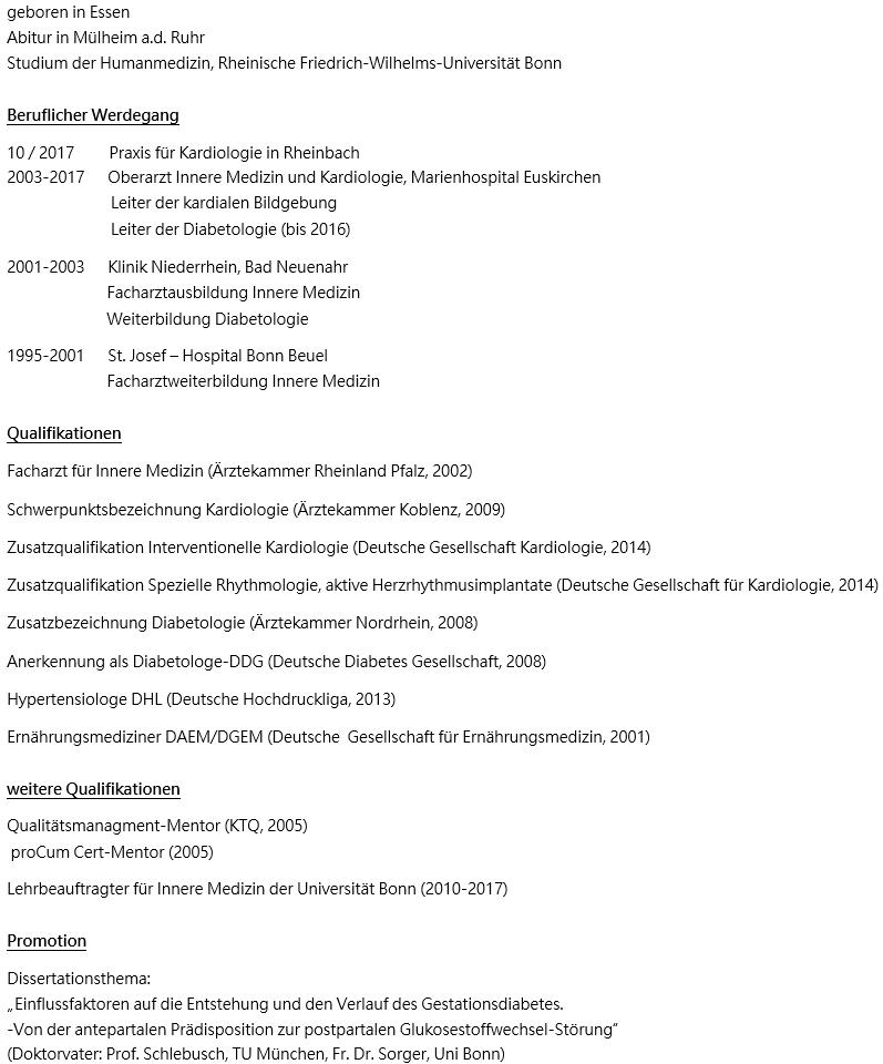 Lebenslauf Dr Mark Claudius Goebels Praxis Kardiologie Rheinbach